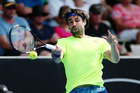 Marcos Baghdatis plays a forehand in his match against Jiri Vesely at the ASB Classic. Photo / Getty Images