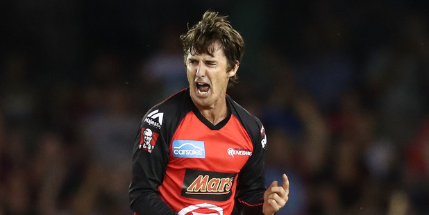 Brad Hogg (45) of the Renegades celebrates after taking a wicket during the Big Bash League. Photo / Getty