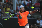 Jack Sock plays a forehand against Steve Johnson at the ASB Classic. Photo / Getty Images