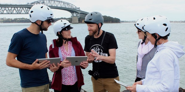 Power to the Pedal founder Eddie Jack (centre) on a tour of Auckland city.