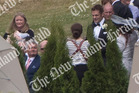 Richie McCaw makes his way to the wedding archway during his marriage to Gemma Flynn. Photo / NZ Herald