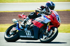 Whakatane's Tony Rees on the attack in the superbike class. Photo / Andy McGechan