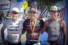 Port of Tauranga Half winner Braden Currie, centre, with second place Cameron Brown, left, and third placed Hayden Wilde. PHOTO/ ANDREW WARNER