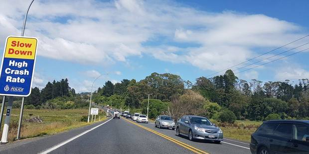 Traffic was backed-up from the from Clarke Rd, Te Puna until Bethlehem travelling to the city at about 11am Friday. PHOTO/SUPPLIED