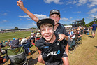 FAN ATMOSPHERE: Alex Garrett, 11, and Ryan Parker, 7, at the third Black Caps v Bangladesh. PHOTO/George Novak