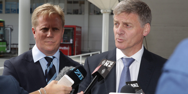 Prime Minister Bill English speaks to the media at Auckland Airport before flying to Europe. New Zealand Herald by Nick Reed