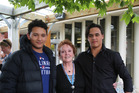 Shayden Gardiner, left, Della Jones and Kanui Tapa after the powhiri to open the 23rd annual New Zealand Opera School at Wanganui Collegiate School. PHOTO NATALIE SIXTUS