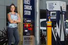 ELECTRIC: Councillor Tania Tapsell beside Unison's electric vehicle charging station in the Haupapa St carpark.  PHOTO/STEPHEN PARKER