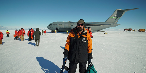 Damian Christie arrives in Antarctica. Photo / Damian Christie