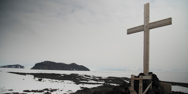 The cross at Cape Evans, a memorial to his ill-fated 1910-1913 expedition. Photo / Damian Christie