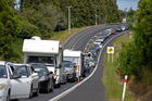 Long stretch of traffic along State Highway 2 after a two car crash. Photo/George Novak
