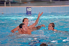 Rio olimpian Joe Kayes (left) with Sam Jones, 14, and Jack Preston,14, (right) at water polo coaching clinic held at Baywave yesterday. Photo/George Novak