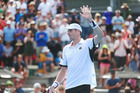 John Isner acknowledges the crowd following his win over Malek Jaziri at the ASB Classic. Photo / NZ Herald Doug Sherring.