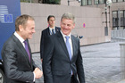 Bill English on his first official overseas engagement as Prime Minister in Brussels. He is pictured with Donald Tusk, president of the European Council. Photo Claire Trevett.