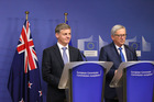Bill English meets European Commission president Jean-Claude Juncker in Brussels. Photo / Claire Trevett