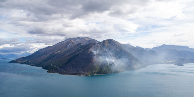 The fire between Queenstown and Glenorchy. Photo / James Allan