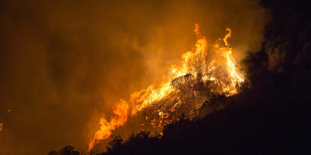 Fire at Rat Point between Queenstown and Glenorchy, in the early hours of January 11. Photo / James Allan