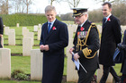 Bill English looks at NZ graves at Plugstreet, Commines Warneton in Belgium where New Zealanders were based in World War One. Photo / Claire Trevett