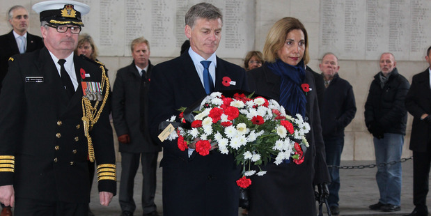 Bill and Mary English lay a wreath at the Menin Gate at Ieper (Ypres) in Belgium. Photo / Claire Trevett