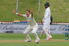 Trent Boult appeals successfully for lbw against Bangladesh's Tamim Iqbal. Photo / Mark Mitchell