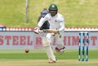 Bangladesh batsman Mominul Hague plays a drive for four runs. Photo / Mark Mitchell