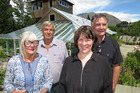 Jill and Dick Jardine with Otago University's Harlene Hayne and John Ward outside the Remarkables homestead the Jardines are donating to the university.   Picture / Philip Chandler