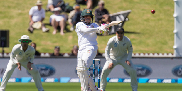 Loading Bangladesh batsman Mushfiqur Rahim pulls a shot for four runs during play on day two of the ANZ cricket test at the Basin Reserve in Wellington. Photo / Mark Mitchell.