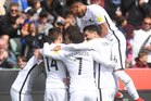 Marco Rojas celebrates his first goal for New Zealand All Whites v New Caledonia. Photo/Photosport