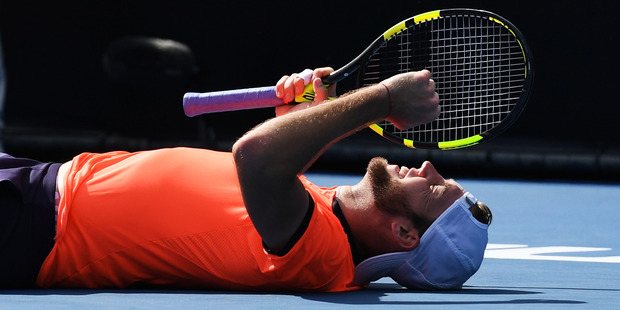 A relieved Jack Sock soaks up the realisation he has clinched the men's singles final in a three-setter in Auckland yesterday. Photo / photosport.nz