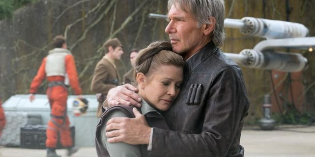 Carrie Fisher and Harrison Ford in Star Wars: The Force Awakens. General Leia was meant to have a larger role in the ninth movie. Photo/Supplied