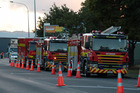 Fire appliances at a fire near Rosebank Road in Avondale today Photo / Brett Phibbs