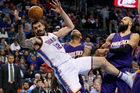 Oklahoma City Thunder center Steven Adams (12) loses the ball and falls to the floor. Photo / AP.