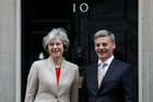 Britain's Prime Minister Theresa May, left, greets the Prime Minister of New Zealand Bill English on the doorstep of 10 Downing Street. Photo / AP