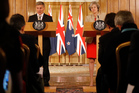 New Zealand's Prime Minster Bill English in a press conference with Britain's Prime Minister Theresa May. Photo / AP