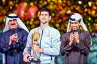 Novak Djokovic of Serbia celebrates after winning the Qatar Open 2017 final. Photo/AP Photos