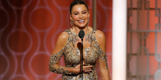 Loading Sofia Vergara at the 74th Annual Golden Globe Awards at the Beverly Hilton Hotel in Beverly Hills. Photo / AP