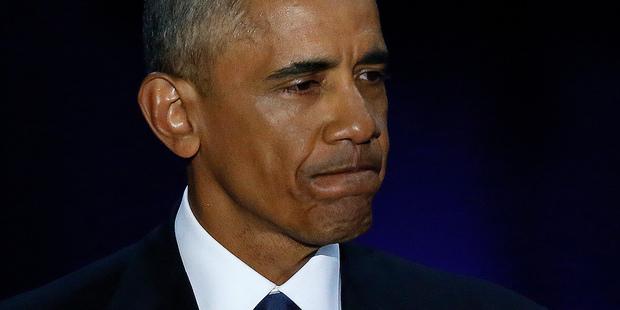 Loading President Barack Obama during farewell address. Photo / AP