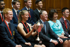 Former Rutherford College student Oxana Repina and other top scholars, including Thomas Hayes, left, with then Prime Minister John Key and Education Minister Hekia Parata. Photo / Mark Mitchell