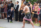 Then deputy Prime Minister Bill English is welcomed on to Te Tii Marae prior to Waitangi Day 2015 - a sight you won't see at this year's commemorations.