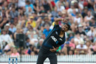 Black Caps bowler Ish Sodhi in action against Australia 2016. Photo/Alan Gibson