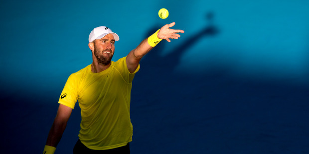 Steve Johnson (USA) in action. Photo /  Dean Purcell.