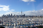 A view from the Auckland Harbour Bridge across Westhaven marina to Auckland City.