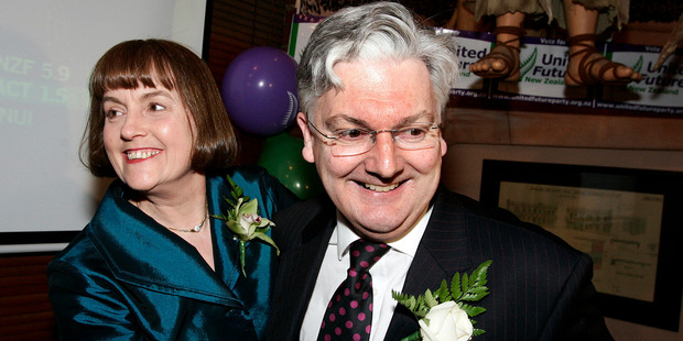 Peter Dunne celebrates winning his Ohariu Belmont seat with his wife Jenifer Mackrell at the Backbencher pub in Wellington in 2005. Photo / Anthony Phelps