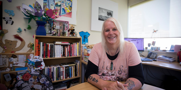 Lexie Matheson, transgender actor and lecturer in events management, in her office at AUT. New Zealand Herald Photograph by Dean Purcell.