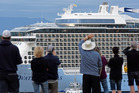Megaship Ovation of the Seas arrives to Mount Maunganui and is welcomed by crowds of people. Photo/George Novak