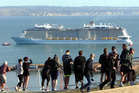 People gather on Napier Hill to watch Ovation of the Seas arrive in Hawke's Bay earlier this week. Photo / Paul Taylor
