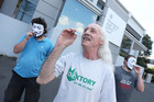 Brian Thomas Borland and fellow cannabis smokers protest outside Whangarei District Court. Photo / Michael Cunningham