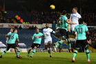 New Zealand striker Chris Wood scores the opening goal against Derby County. Photo / Getty