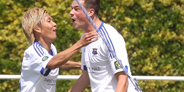 Kohei Matsumoto (left) and Saul Halpin were tireless for Bay United in their 1-0 loss to Waitakere United on Sunday. PHOTO/FILE