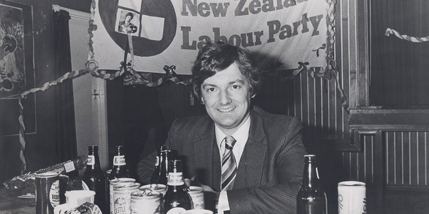 Early days in politics, with the Labour Party in 1984. Photo / NZH Archive